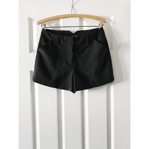 Black High-Waisted Trouser Shorts